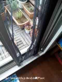 古いプリーツのテラスドア用網戸